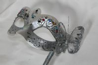 Silver Crystal Mask on Stick with Butterfly